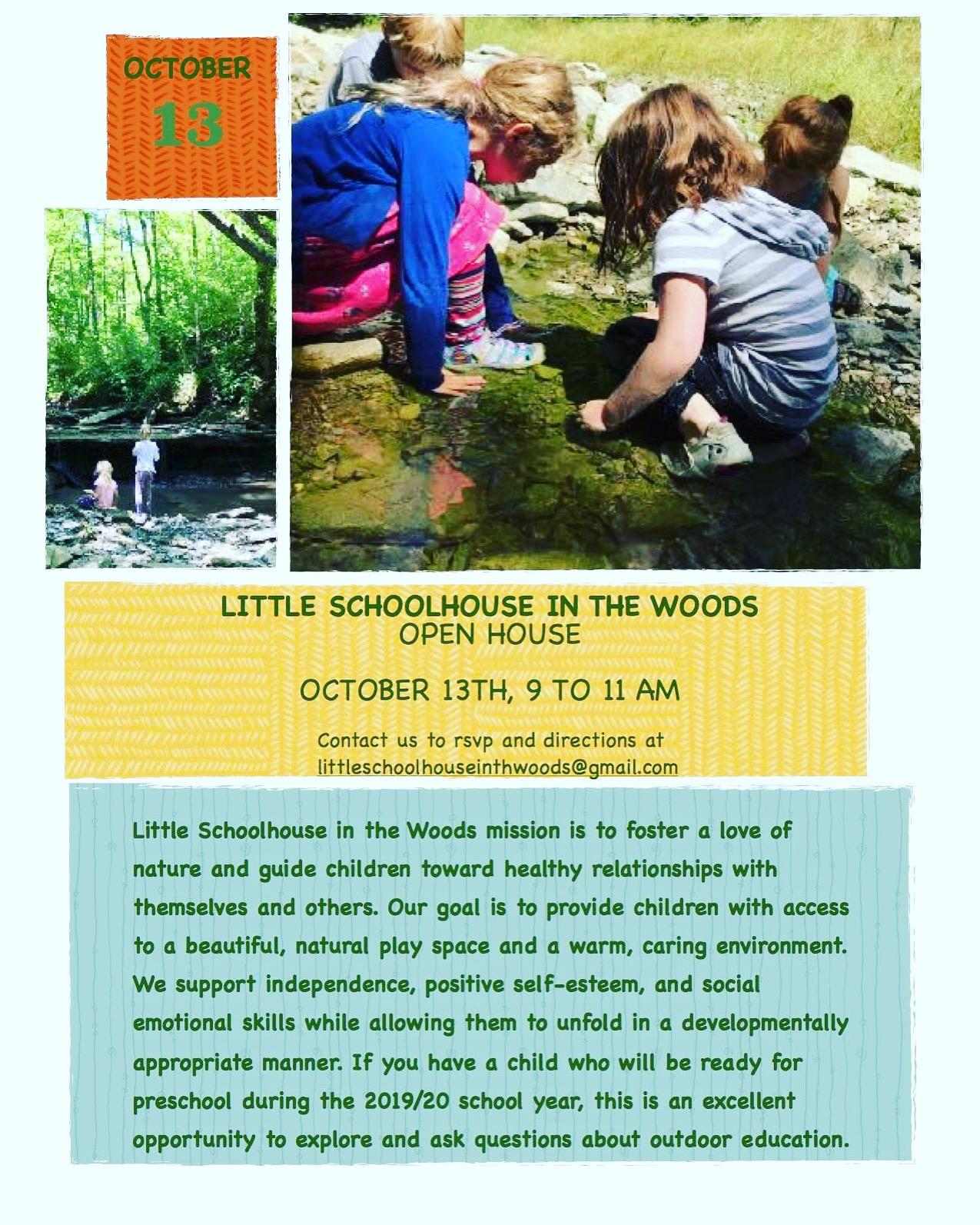 RSVP at littleschoolhouseinthewoods@gmail.com
