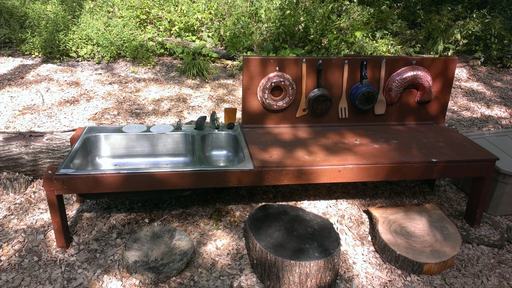 A used kitchen sink, some 2X4 lumber, and a lot of imaginative play!